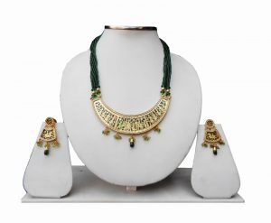 Green Beads Thewa Necklace Set with Earrings for Women-0