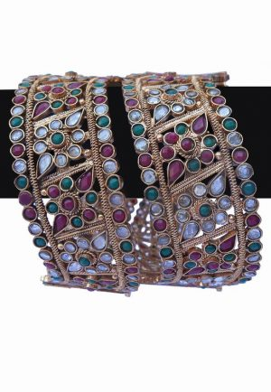 Buy Pair of Green, White and Red Stone Studded Bridal Polki Bangles -0