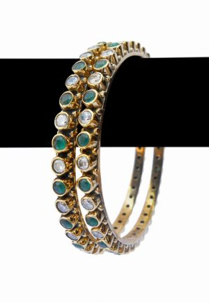 Buy Fashion Bangles in Green and Pearls Stones with Micro Gold Covering-0