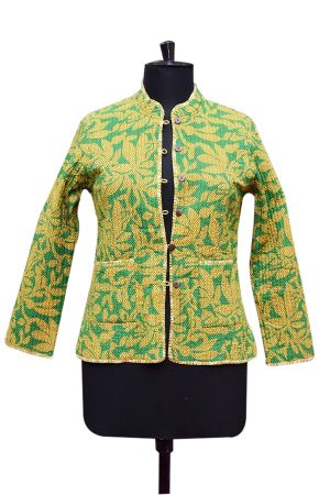 Beautiful Designer Yellow And Green Handmade Quilts Coat for Girls-0