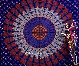 Red and Blue Hippie Bohemian Circular Tapestry Throw Bedspread-0