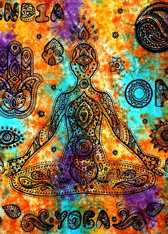 Boho Yoga India Wall Hanging Dorm Bedroom Tapestry in Orange-3781