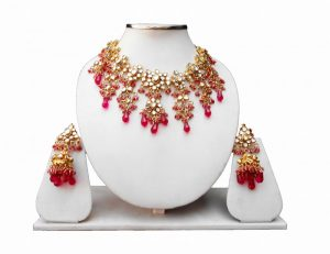 Indian Ethnic Kundan Necklace and Earrings Set with Red Stones-0