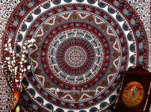 Handlook Psychedelic Indian Tapestry Bedspread in White Multicolor -0
