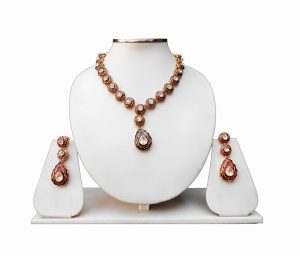 Jaipur Minakari Necklace and Earrings Jewelry Set in Brown and Red-0