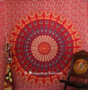 Bohemian Mandala Bird Wing Wall Tapestry in Round Red Ethnic Print-0