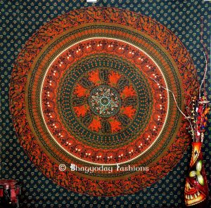 Boho Round Parrot Wall Hanging Dorm Bedroom Tapestry in Green-0