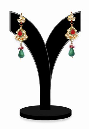 Shop Online Traditional Red, Green and White Kundan Stones Jhumkas-0