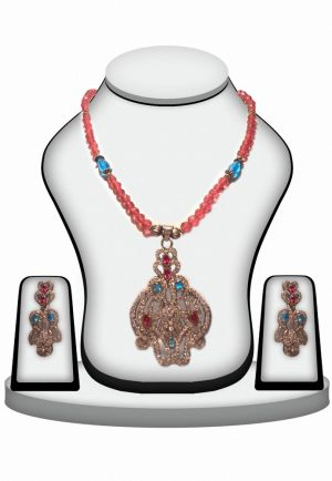 Latest Design Multicolo Jhumkas and Victorian Pendant Set From India-0