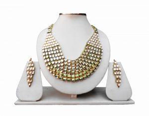Latest Design Red Kundan Stones Bridal Necklace Set With Tikka-0