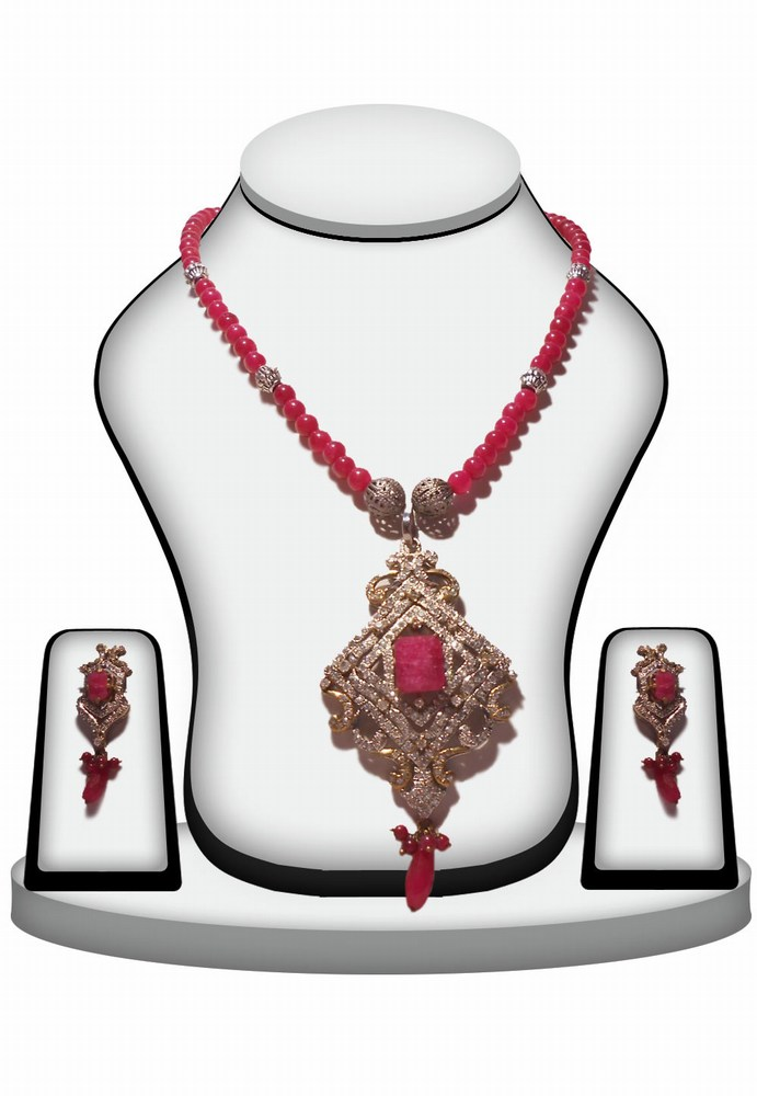 Latest Design Red Victorian Pendant Set From India-0