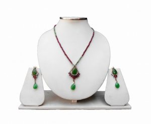 Latest Design Stylish Red and Green Fashion Pendant Set for Parties -0