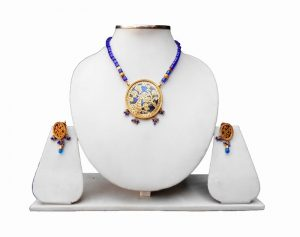 Latest Peacock Design Thewa Pendant Set with Earrings in Blue Beads -0