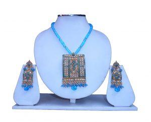 Latest Design Cute Polki Pendant Set in Stones and Beads-0
