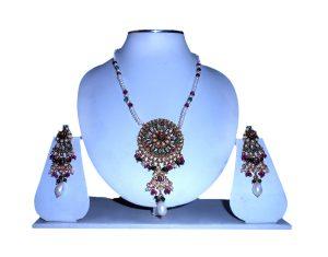 Latest Design Fashionable Pendant Set from India in Polki Stones -0