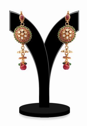 Long Dangler Polki Earrings for Women in Red, Green and White Stones-0