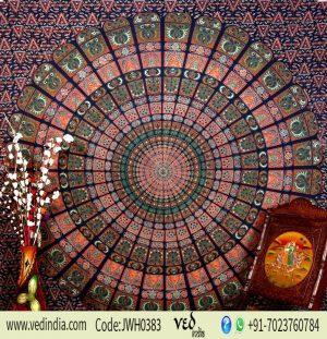 Round Mandala Boho Dorm Wall Tapestry Bedspread Queen in Blue-0