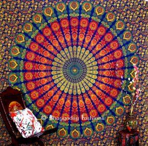 Bright Multicolor Mandala Peacock Boho Dorm Wall Tapestry Bedspread-0
