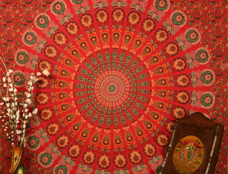 Buy Bird Wings Round Mandala Tapestry Bedding Queen in Red Print-3839