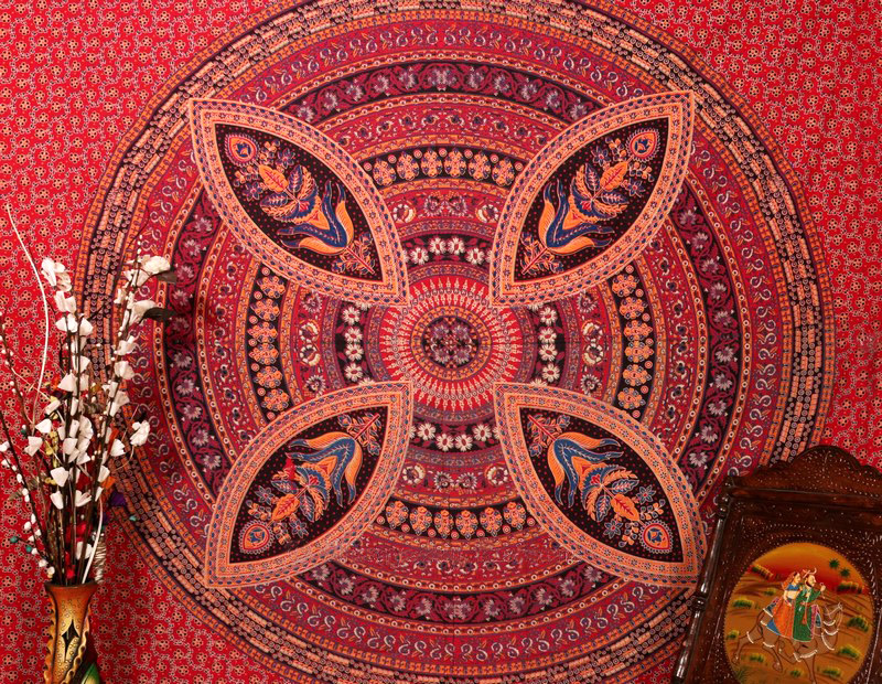 Shop Flower Mandala Psychedelic Tapestry Throw Bedspread in Red-3825