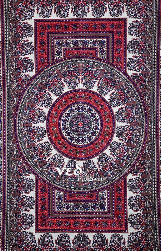 Grey and Red Hippie Mandala Tapestry