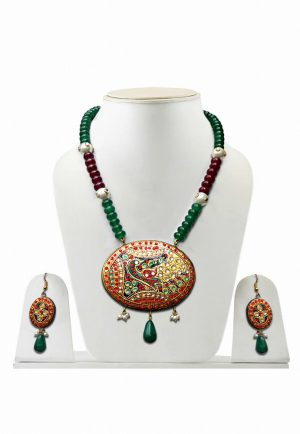 Maroon and Green Oval Tanjore Painting Stones Necklace Set with Earrings-0