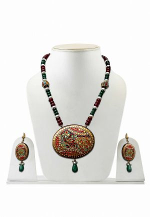 Maroon and Green Tanjore Painting Pendant Necklace and Earrings from India-0