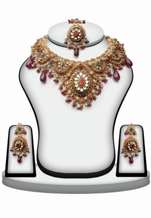 Maroon Polki Stones Bridal Necklace Set for Weddings with Earrings and Tika-0