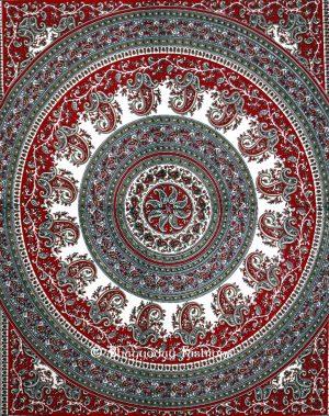 Maroon Grey Round Hippie Tapestry Bedspread Home Décor Festivals-0