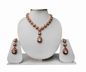 Modern Brown Minakari Necklace and Earrings Set for Weddings -0