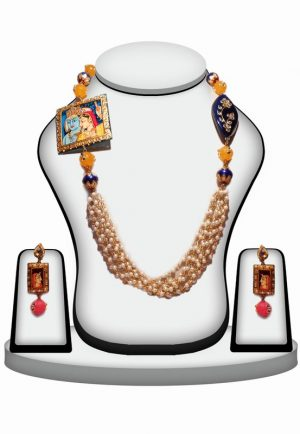 Shop Online Multi Color Stone Painting Beads Jewelry Set with Kundan Work-0