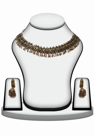 Multicolor Stones and Beads Designer Victorian Necklace Set-0