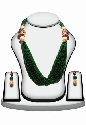 Indian Design Beaded Jewelry Necklace Set in Green Color-0