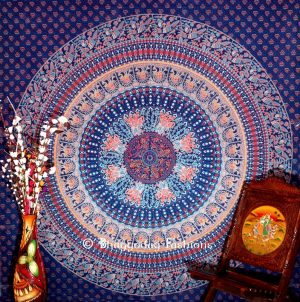 Parrot Hippie Boho Dorm Wall Tapestry Bedspread Queen in Blue Print -0