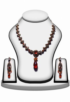 Party Wear Red Stones Polki Necklace Set with Earrings-0