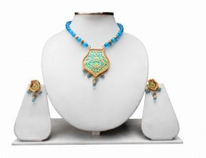 Partywear Turquoise Beads Thewa Pendant Set For Women-0