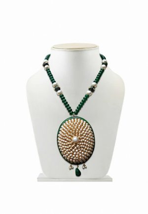 Round Partywear Pacchi Pendant Set for Women in Green and White-0