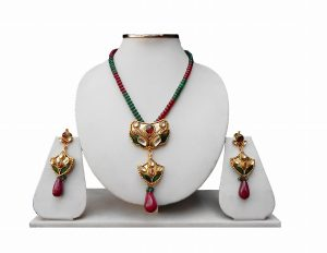 Beautiful Party Wear Pendant Set in Green and Red Stone with Fashion Earrings-0