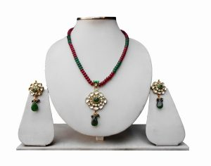 Buy Wedding Pendant Set in Green and Red Stones with Antique Polish -0