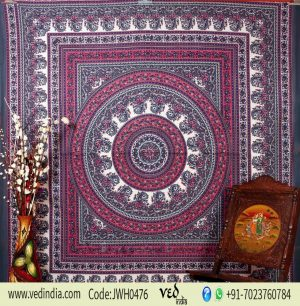 Pink and Grey Handlook Paisley Tapestry Round Boho Design Bedspread -0