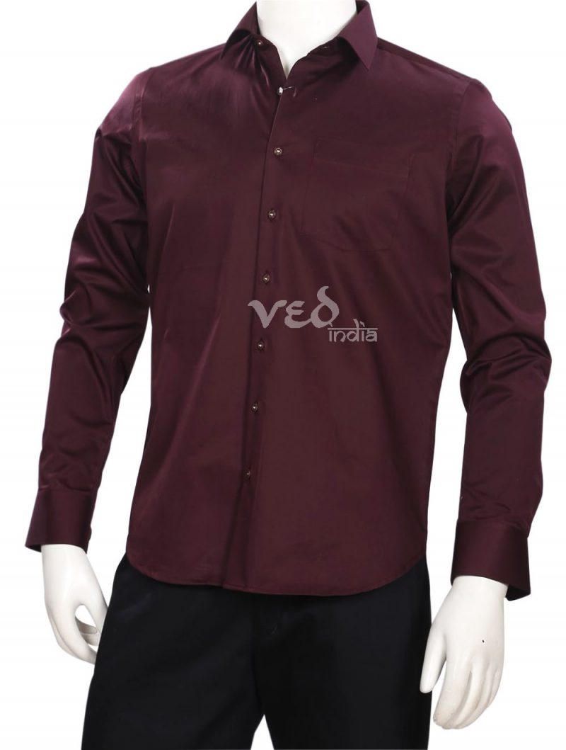 Plain Officer Fit Wine Shirt for Wedding Parties for Men-0