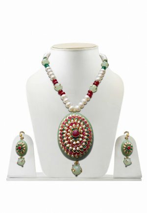 Posh Green and White Pacchi Work Designer Necklace and Earrings Set -0