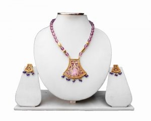 Purple and Blue Traditional Thewa Pendant and Earring Set From India-0