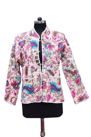 Buy Colorful Printed Designer White Quilted Fashion Jackets For Women-0