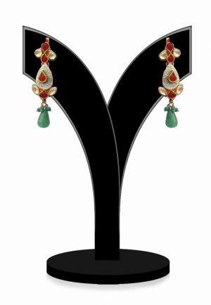 Ravishing Earrings for Women in Red, Green with White Kundan Stones-0