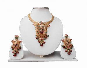 Red and Green Indian Polki Pendant Set for Women with Earrings -0