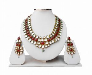 Red and White Modern Styles Kundan Necklace and Earrings Set -0