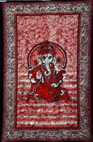 Red Batik Indian God Ganesha Wall Hanging Bedspread Tapestry-0