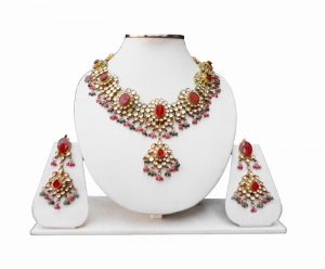 Red, Green and White Kundan Fashion Necklace Set With Earrings-0