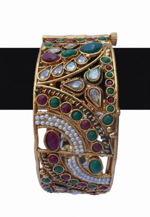 Red, Green and White StonesPolki Bridal Bangles from India-0